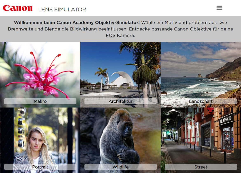 Canon Lens Simulator