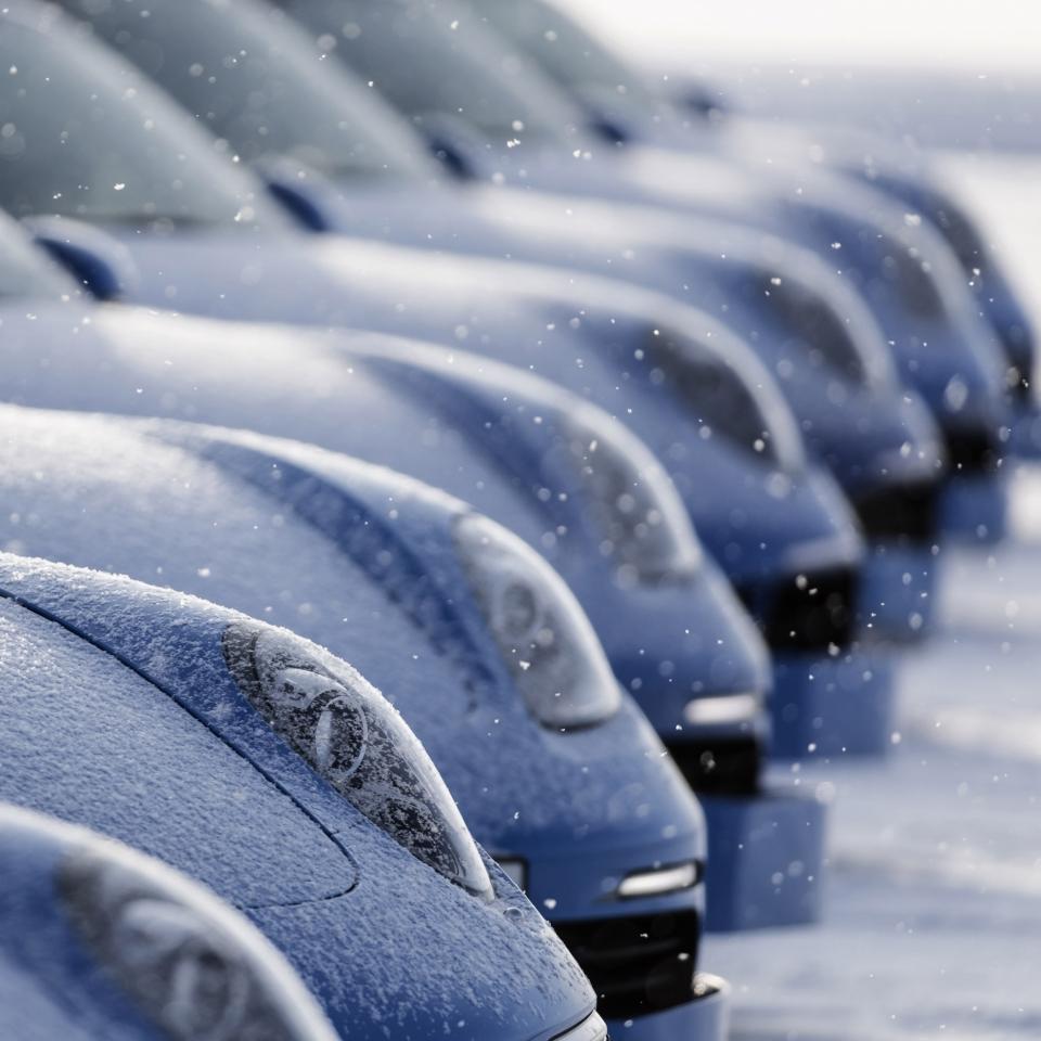 Winter, Tele, Objektive, Porsche im Schnee