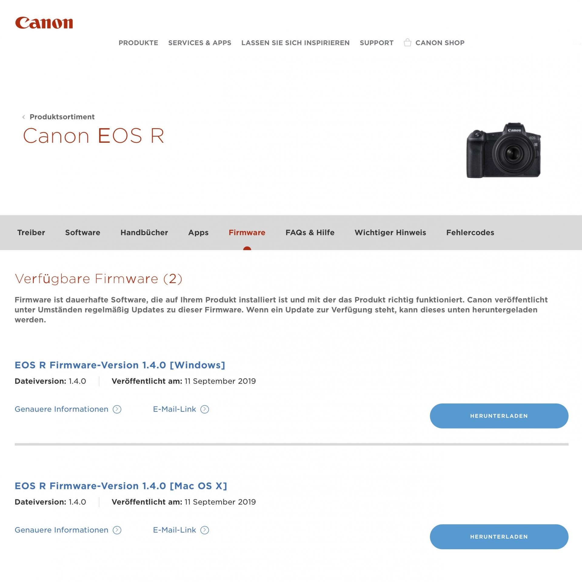 Firmware Update, EOS R